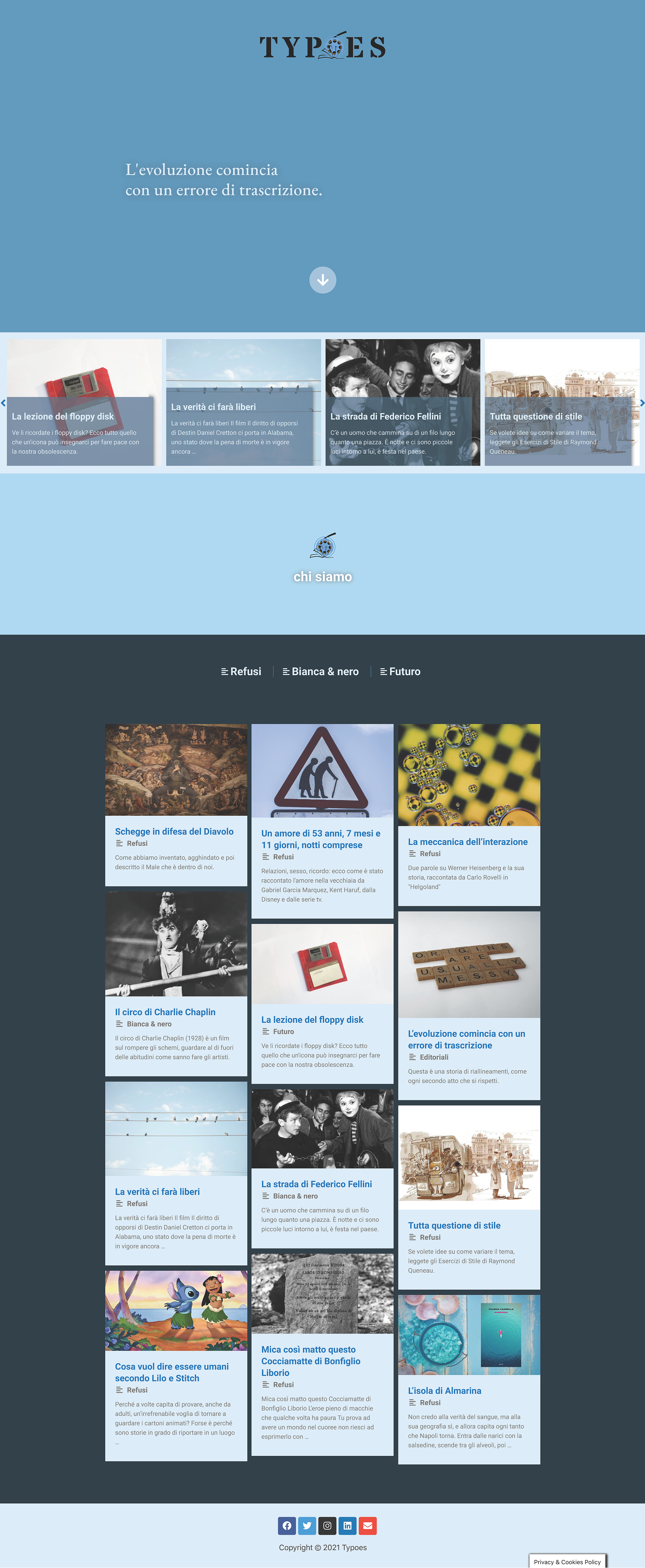 typoes sito landing page